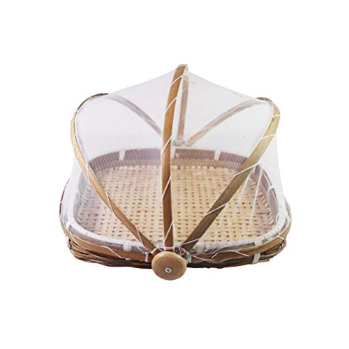 Aiglen Handgemachte Aufbewahrungskorb Rattan gewebte Aufbewahrungstablett Bambus Obst Lebensmittel Picknick Brot Behälter Home Decorate Kitchen Organizer (Size : 35x24cm)