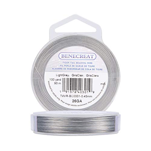 BENECREAT 90m 0.46mm 7 Brins Nylon Enduit Artisanat Bijoux Perles Fil Tigre Queue Perles Fil pour Colliers Bracelets Anneau
