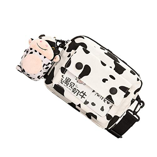 VALICLUD Cow Pattern Shoulder Bag Canvas Leopard Print Hobos Handbags Clutch Handbag Women Crossbody Purse Casual Tote Bag with Charm for Women Lady Girl