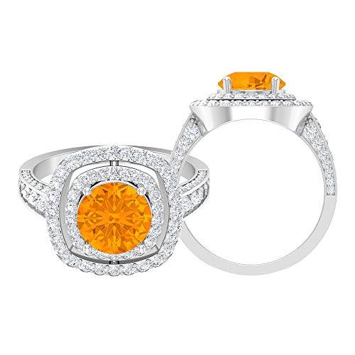 Anillo solitario vintage, piedras preciosas redondas de 3,40 quilates, D-VSSI Moissanite 8 mm anillo lleno de vidrio rubí, joyería de oro nupcial, 14K White Gold, Glass Filled Ruby, Size:US 70