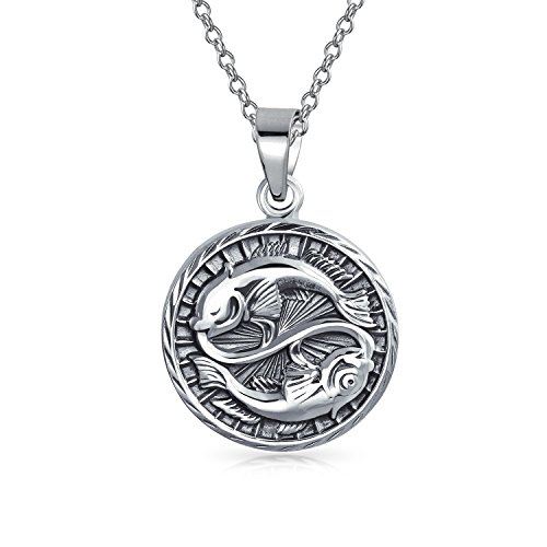 Pisces Zodiac Sign Astrology Horoscope Round Medallion Pendant For Men Women Necklace Antiqued Sterling Silver