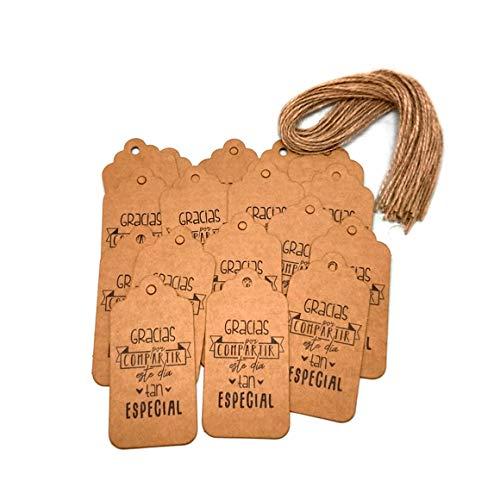 DISOK - Lote 20 Tarjetas Kraft FRASES. Tarjetas decorativas para presentar tus detalles y regalos en bodas, bautizos y comuniones.