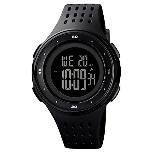 Fashion Skmei Sport Digital Watch for Men,Outdoor Waterproof Watches with Black Silicone Strap Simple Watch (Black)
