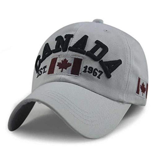 Baseball Kappe Hut Cap Neuheiten Cotton Gorras Kanada Baseball Cap Flagge Von Kanada Hut Snapback Adjuatable Herren Baseball Caps Erwachsene 54-62Cm LightGray