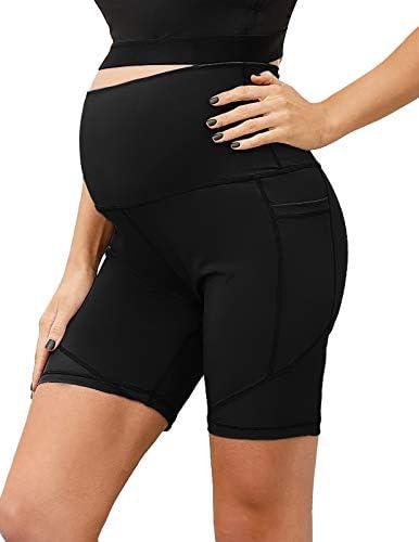 Women s Maternity Shorts Yoga Bike Active Shorts Leggings Black product image