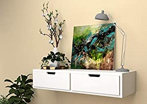 Vudy Exclusively Launched Wall Shelf with Drawer for Living Room , Storage and Home Decorative Items (White)