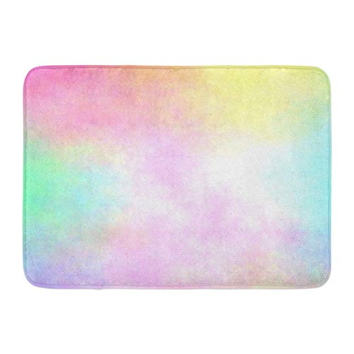 Emvency Doormats Bath Rugs Outdoor/Indoor Door Mat Yellow Rainbow Pastel Watercolor Airbrush Blue Cyan Magenta Pale Bathroom Decor Rug Bath Mat 16' x 24'