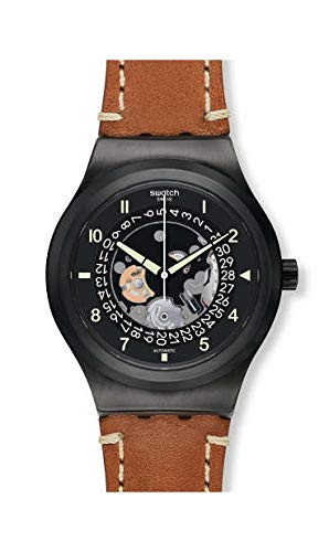 Swatch Herren Analog Automatik Uhr mit Leder Armband YIB402