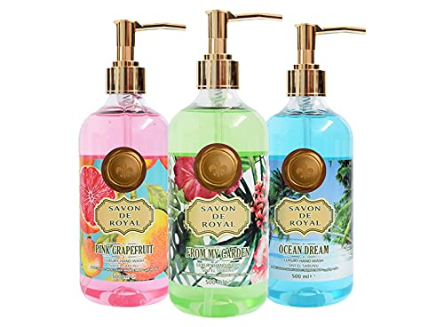 Savon De Royal Tropical Luxury Liquid Hand Soap Variety Pack, Ocean Dream, Pink Grapefruit and From My Garden, Practical Liquid Soap,16.9 fl oz per pack (Pack of 3)