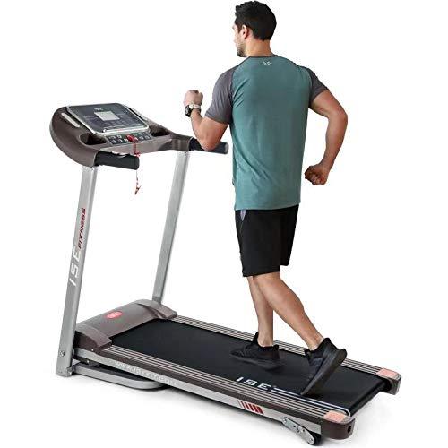 ISE Tapis de Course Pliable, 14km/h, écran LCD Multifonctions avec 12 Programmes d'exercices, Cardio Fitness Sport, Silencieux, 120kg...