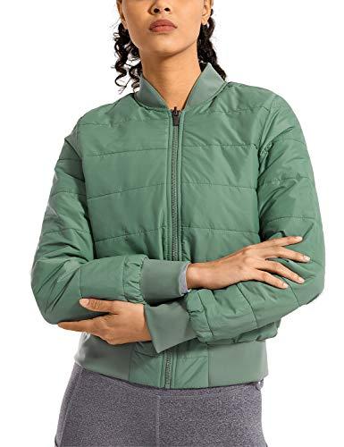 CRZ YOGA Damen Herbst Warm Mantel Winter Jacke Cropped mit Reißverschluss Aqua 42