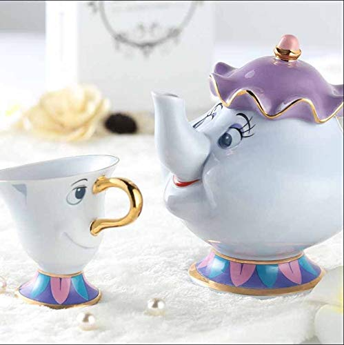 viruchshop Beauty and The Beast Tea Pot Set Mrs Potts Teapot Chip Cup Ceramic Gift