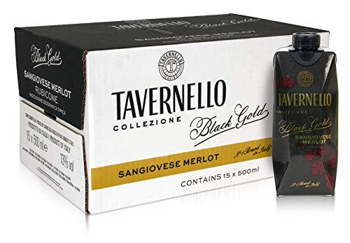 Tavernello Black Gold - Vino Rosso Sangiovese Merlot Rubicone IGT - Confezione da 15 Brik da 500 ml
