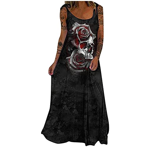 AMhomely Skull Print Gothic Maxi Dresses for Women UK Clearance Ladies...