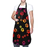Granbey Gorgeous Dog Paws Apron Dog Lover Aprons with Pockets Waterproof Love Paw Print Bib Personalized Bibs for Adults Adjustable Shoulder Strap Polyester Aprons Cooking BBQ Adult Artist Aprons