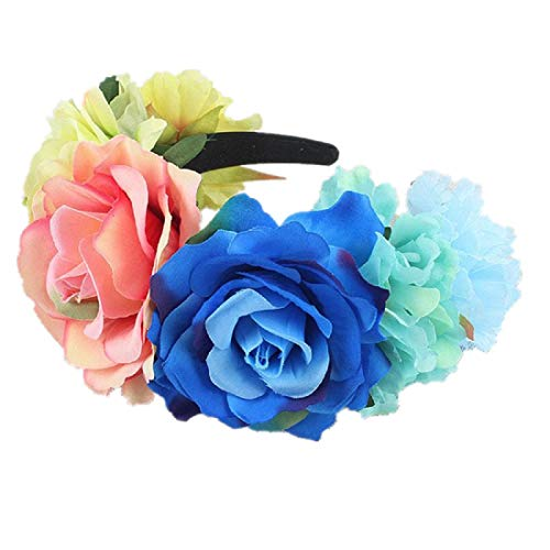 NanaVivi Disfraz mexicano de rosa corona de flores Da de los Muertos - azul - M