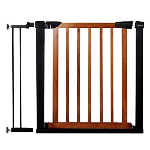 SPRINGOSⓇ Schutzgitter Holz|Sicherheitstor|Sicherheitsbarriere | Baby Türschutzgitter | Treppenschutzgitter | Schutzgitter 75-82 cm m. Verlängerung 14 cm (Braun-Schwarz, 90-96 cm)