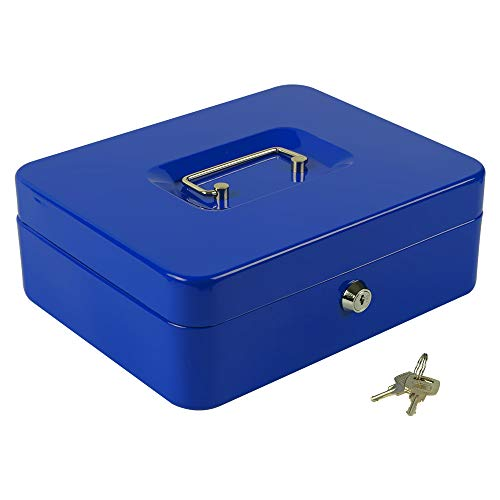 "KYODOLED Large Lock Box with Money Tray,Storage Cash Box with Lock,Safe Metal Box for Money,9.84""x 7.87""x 3.54"" Blue Large"