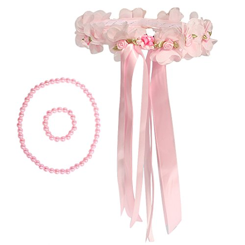 kilofly–Juego de niñas con flores boda flores corona diadema + collar pulsera conjunto
