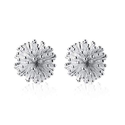 Dandelion Sterling Silver Stud Earrings for Women Teen Girls Men Hypoallergenic Flower Seed Cluster Piercing Ear Tragus Post Cute Lovely Sleeper Earrings Tiny Lightweight Jewelry Gifts for Best Friend