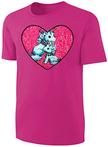 Mädchen T-Shirt Wende Pailletten Einhorn Herz Streichel Shirt Pink Größe 164