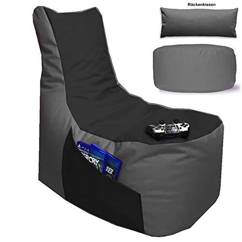 Sitzsack 3er Set Big Gamer Sessel mit EPS Sytropor Füllung - Rückenkissen - Hocker Sitzsäcke Sessel Kissen Sofa Sitzkissen Bodenkissen (Big Gamer Sitzsack 3er Set 2-farbig, Grau - Schwarz)