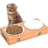 Queta Katze Napf-Set Anti-Rutsch Katzennäpfe Keramik Set mit Bambus Ständer Katzennäpf Hundenäpf Haustier-Zufuhr Bambus Stent Doppel Schüssel für Katzen und Hunde