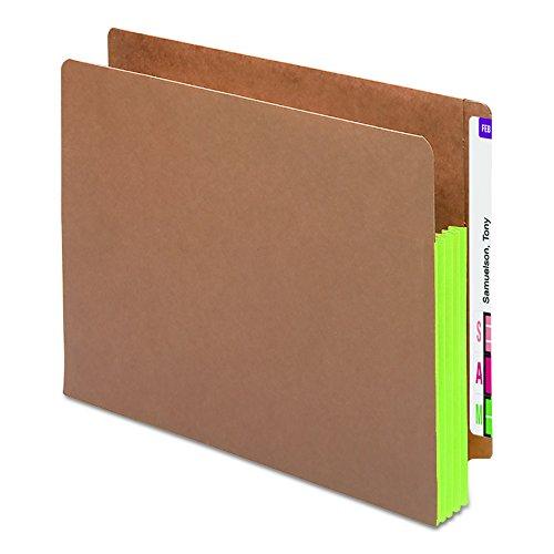 SMEAD tab tasje, versterkte rechte gesneden tab, 3-1/5,1 cm expansie, extra brede lettergrootte, Redrope met zijvouw groen, 10 stuks per doos (73680)