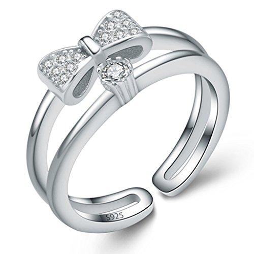 Unendlich U Klassik 925 Sterling Silber Verstellbare Schleife Band Kleiner finger Ringe für Mädchen Damen, Ringgröße 46