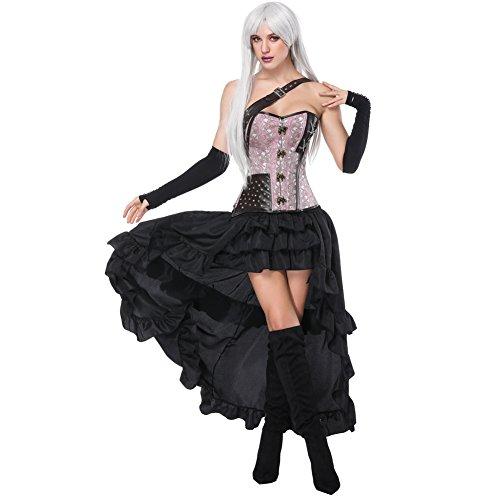 FeelinGirl Mujer Conjunto de Corsé Gótico Fiesta Corset Hueso Bustier con Falda Dos Piezas Carnaval Steampunk Corset Disfraz Sexy Vestido