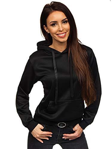 BOLF Mujer Sudadera con Capucha Cierre de Cremallera Estilo Deportivo J.Style W02 Negro XL [A1A]