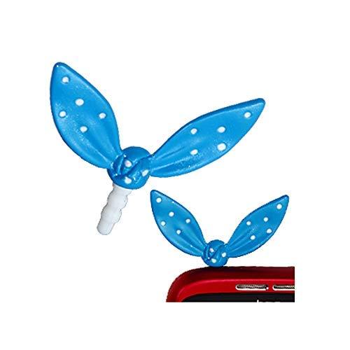 ANDANTE stofbescherming voor oorphones jackpluggen strik (blauw) voor smartphones, tablets en MP3-speler