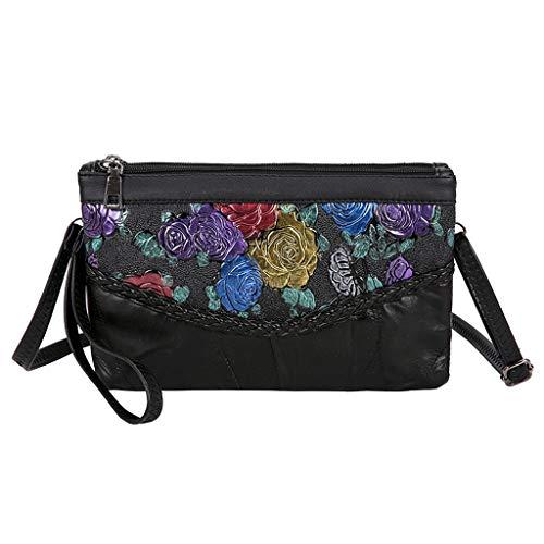 BEECM Shoulder Bags Ethnic Style Retro Three-Dimensional Embroidered Flowers Folk-Custom Handbag Zipper Closure for Girls Teens Women
