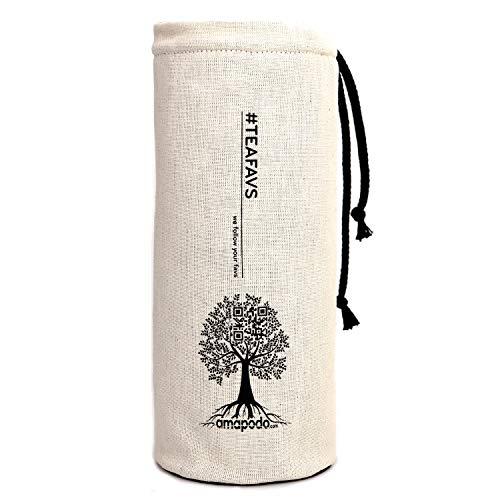 amapodo - Flaschenhülle - Schutzhülle - Baumwollstoff, plastikfrei [Neopren und BPA Frei] - Flaschenschutz für Glasflaschen - Tasche für Trinkflaschen - Schutzhüllen für Flaschen mit Ø von 6-7cm