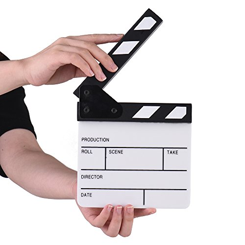 Action Cut Board, Andoer Acrylic Film Clapboard Dry Erase Compact Size TV Film Movie Director Cut Action Scene Clapper Board Slate