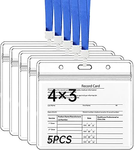 5 Piezas Soporte para Tarjetas de 10 X 7.6 CM de Plástico Transparente e ImpermeableIdentificación con Cordónes Azules, Soportes Horizontales para Tarjetas de PVC con Cremallera Resellable