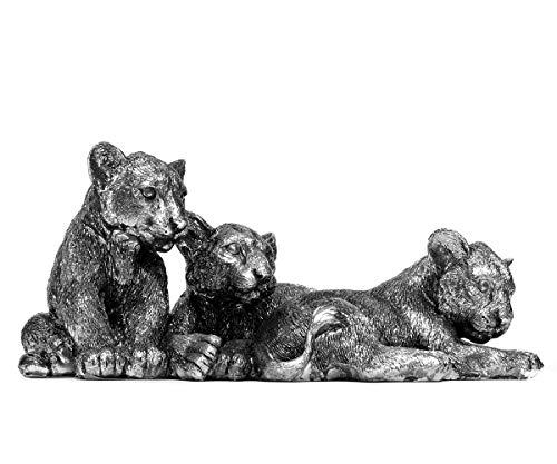 Brillibrum Design Tigerbabys Katzen-Kinder Dekofigur aus Kunststein in Silber Antik-Look Wildkatze Jungtiere Tierbabys Afrika-Deko