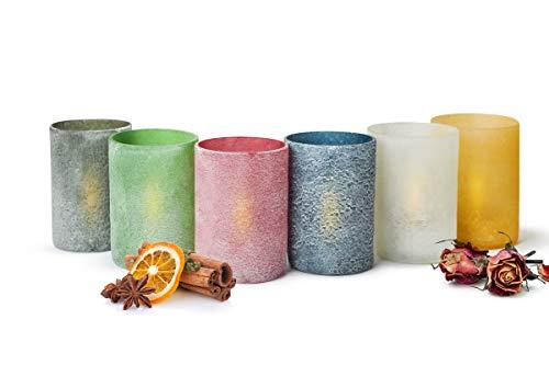 Sendez 6 Bunte Teelichthalter Set aus Glas Kerzenhalter Windlicht Teelicht Teelichter Handmade