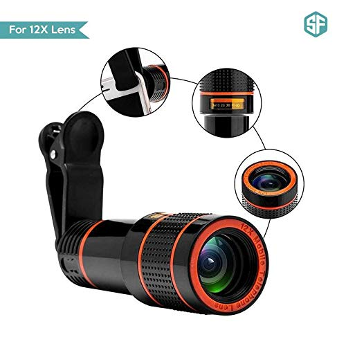Sketchfab 12X Zoom Mobile Phone Telescope Clip Lens for Phone Optical Lens Magnifier for All Android and iOS Device (Assorted...