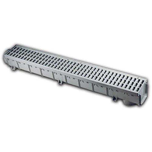 NDS Pro Series Drain Kit 5-1/2 in. X 39-3/8 in. Deep Profile Channel, Gray Plastic Grates, End Caps/Outlet, 5