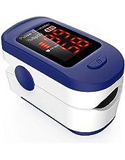 Oxymètre de Doigt Professionnel AGPTEK, Oxymètre de Pouls Électronique Numérique avec Moniteur de Fréquence Cardiaque-Capteur d'Oxygène-Ecran LED-Étui/Lanière inclus, Certifié CE-Blanc et Bleu