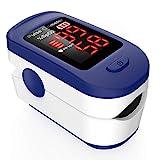 Oxímetro de pulso de dedo, AGPTEK Oxímetro de dedo portátil profesional con pantalla OLED para frecuencia de pulso y saturación de oxígeno, azul
