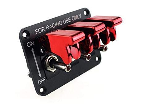 Decorel Interruptor DC12V 20A Alternar Panel de Fibra de Carbono y Rojo y Azul del Coche de competición Interruptor del Panel de Ajuste for el Coche de Carreras con Cable (Color : 3 Red)