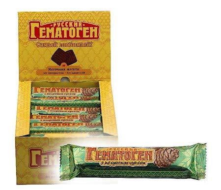 24 x 40g Gematogen Russkij mit Pinienkernen BOX - Karamell Riegel mit Pinienkernen nach russischer Art