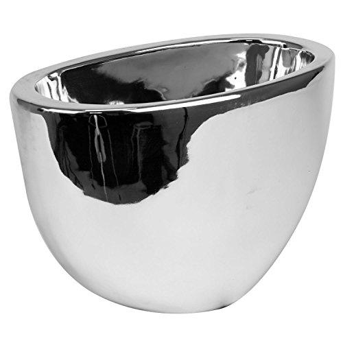Keramische pot H 18 cm zilver glanzend moderne decoratieve vaas Moon bloempot