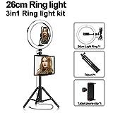 Anillo De Luz LED Selfie con Trípode, Regulable 3200-5500K, Utilizado para Maquillaje De Teléfonos Inteligentes En Vivo Youtube En Vivo,26cm,Package One
