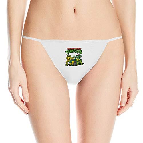 Teenage Mutant Ninja Turtles Women's Cotton Underwear Sexy Low Waist G-String Thong Panty White