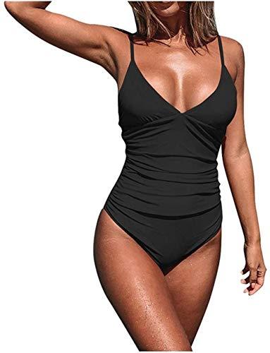 Women's Deep V-Neck Low Back One Piece Monokini Solid Swimsuit Bikini Push-Up Bathing,Black,Large