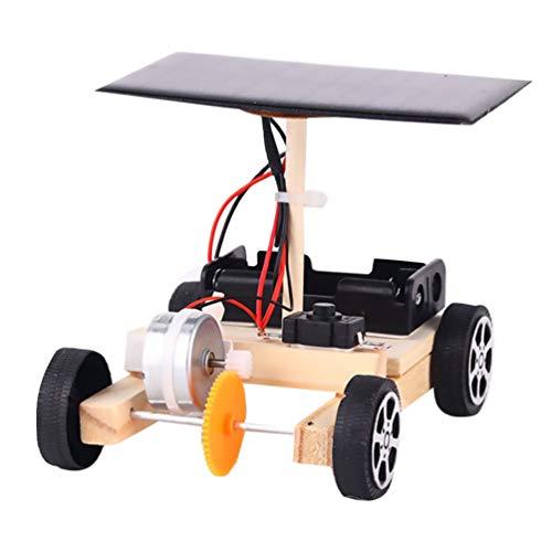 NUOBESTY DIY Solarauto Holz Solarbetriebene Elektroauto Physikalische Modell Wissenschaft Gadget Montieren Spielzeug Baukasten für Kinder(Bunt)