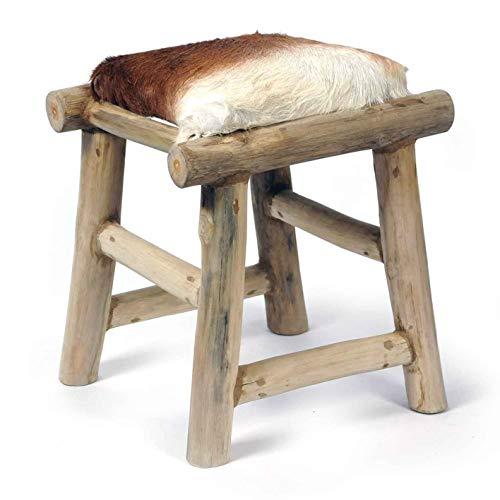 Uriger Hocker aus Holz mit Ziegenfell-Bezug Höhe 44 cm Fellhocker Fußhocker kleiner Hocker